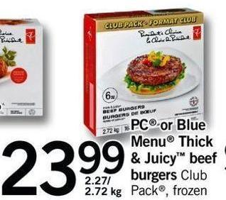 PC Or Blue Menu Thick & Juicy Beef Burgers - 2.27/ 2.72 Kg