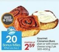 Gourmet Cinnamon Buns Plain or With Cream Cheese Icing 2 Pk 320-400 G- 20 Air Miles