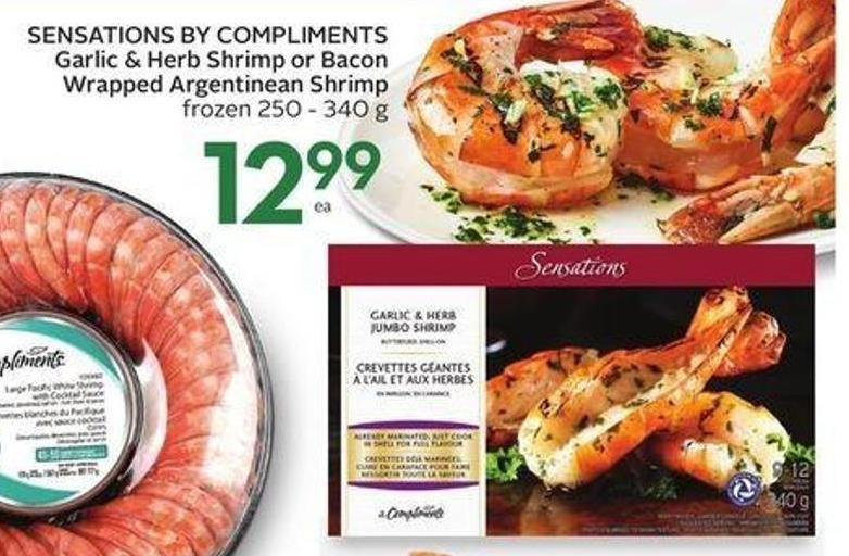 Sensations By Compliments Garlic & Herb Shrimp or Bacon-wrapped Argentinean Shrimp