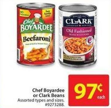 Chef Boyardee or Clark Beans