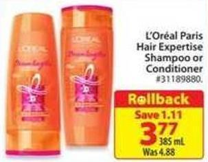 L'oréal Paris Hair Expertise Shampoo or Conditioner