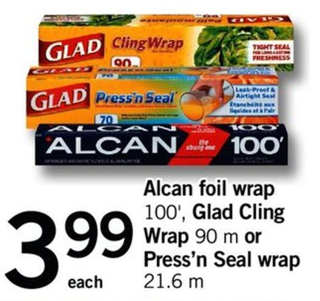 Alcan Foil Wrap - 100' - Glad Cling Wrap - 90 M Or Press'n Seal Wrap - 21.6 M