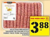 Selection Breakfast Sausage Or Italian Style Family Pack Pork Sausages