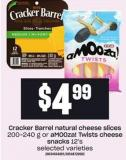 Snacks 12's Cracker Barrel Natural Cheese Slices 200-240 G Or Amooza! Twists Cheese