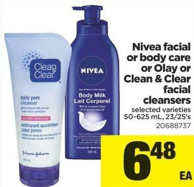 Nivea Facial Or Body Care Or Olay Or Clean & Clear Facial Cleansers - 50-625 Ml - 23/25's