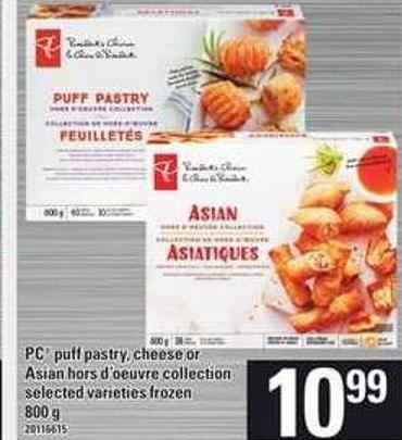 PC Puff Pastry - Cheese Or Asian Hors D'oeuvre Collection - 800 G