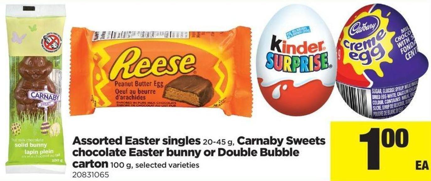 Assorted Easter Singles - 20-45 g - Carnaby Sweets Chocolate Easter Bunny Or Double Bubble Carton - 100 g
