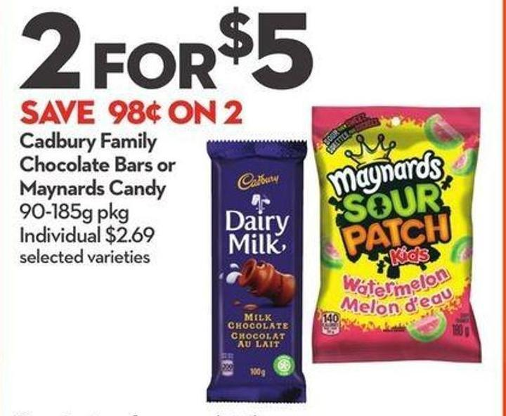 Cadbury Family Chocolate Bars or Maynards Candy