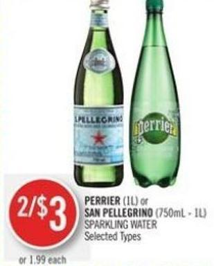 Perrier (1l) or San Pellegrino (750ml - 1l) Sparkling Water