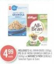 Kellogg's All Bran Buds (500g) - PC Blue Menu Granola Omega-3 (600g) or Nature's Path Cereals