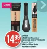 L'oréal Unlimited Mascara or Infallible Makeup Products