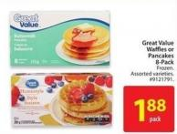 Great Value Waffles or Pancakes 8-pack
