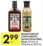 Sensations By Compliments Spirited Mickie Bbq Sauce 375 mL or Wing Sauce 350 mL