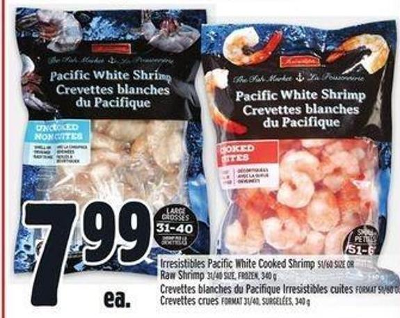 Irresistibles Pacific White Cooked Shrimp 51/60 Size Or Raw Shrimp