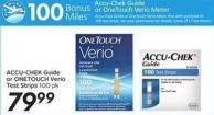 Accu-chek Guide or Onetouch Verio Test Strips 100 Pk - 100 Air Miles