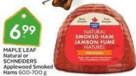 Maple Leaf Natural or Schneiders Applewood Smoked Hams 600-700 g