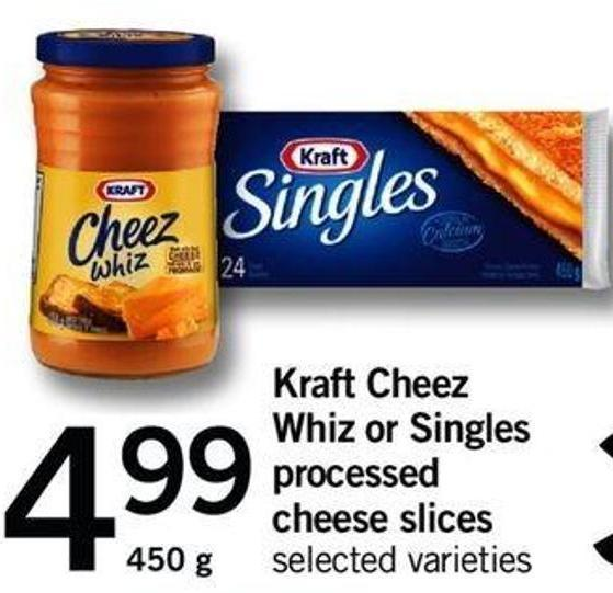 Kraft Cheez Whiz Or Singles Processed Cheese Slices - 450 G
