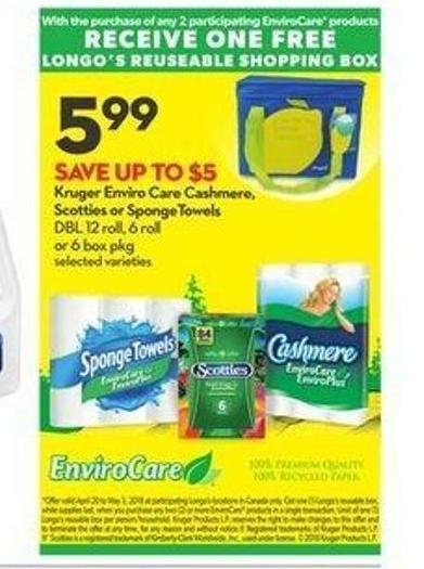 Kruger Enviro Care Cashmere - Scotties or Spongetowels