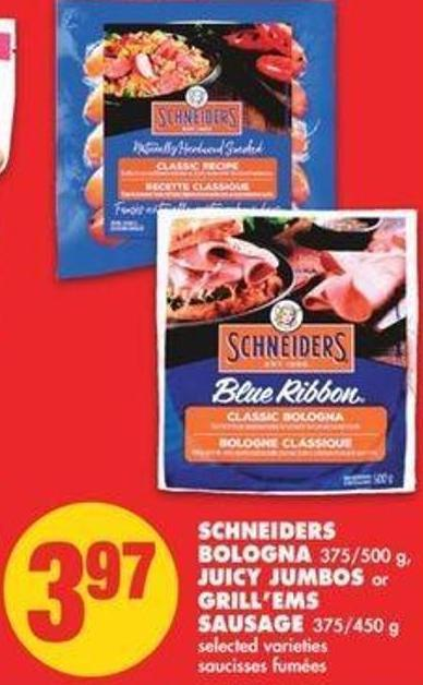 Schneiders Bologna - 375/500 G - Juicy Jumbos Or Grill'ems Sausage - 375/450 G