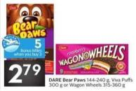 Dare Bear Paws 144-240 g - Viva Puffs 300 g or Wagon Wheels 315-360 g 5 Air Miles Bonus Miles When You Buy 3