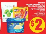 Breyers Frozen Dessert - 1.66 L or Popsicle Novelties - 480-600 mL or PC Vegetables - 300-750 g