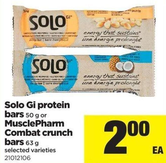 Solo Gi Protein Bars - 50 G Or Musclepharm Combat Crunch Bars - 63 G