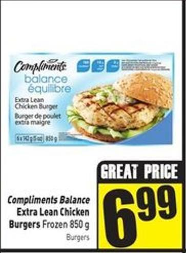 Compliments Balance Extra Lean Chicken Burgers Frozen 850 g
