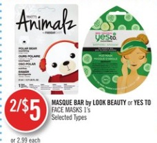 MASQUE BAR by LOOK BEAUTY or YES TO FACE MASKS 1's