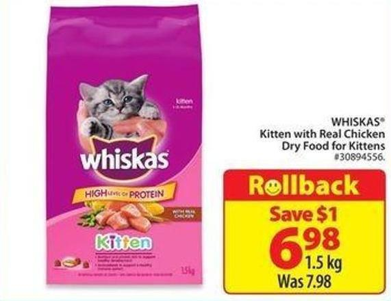 Whiskas Kitten With Real Chicken Dry Food For Kittens