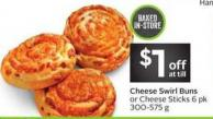 Cheese Swirl Buns or Cheese Sticks 6 Pk 300-575 g
