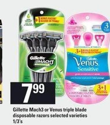 Gillette Mach3 Or Venus Triple Blade Disposable Razors - 1/3's