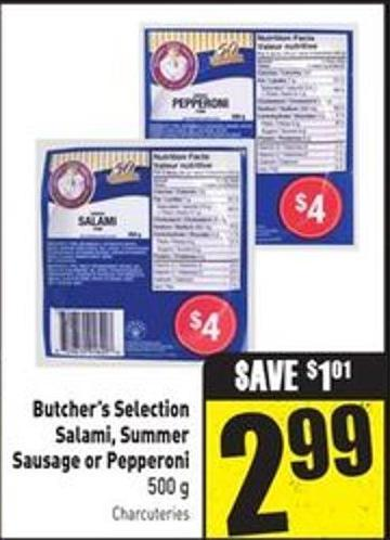 Butcher's Selection Salami - Summer Sausage or Pepperoni 500 g