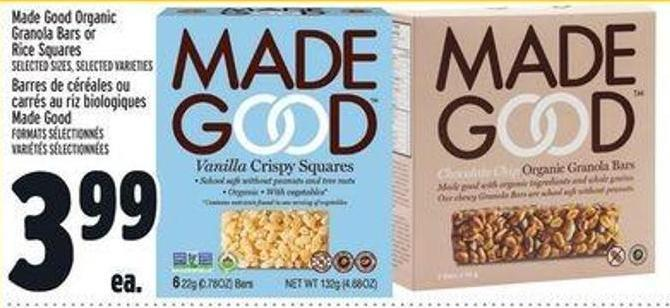 Made Good Organic Granola Bars Or Rice Squares