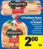 D'italiano Buns - Pkg Of 4-8 Or Bread - 600/675 G