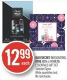 Olay/secret Invigorating - Dove Men or Womens Essentials Gift Set
