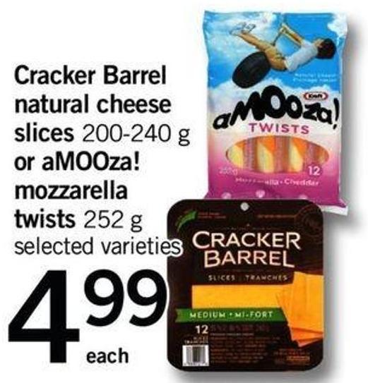 Cracker Barrel Natural Cheese Slices - 200-240 G Or Amooza! Mozzarella Twists - 252 G