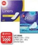Life Brand Liners (140's - 172's) or Pads (38's - 48's)