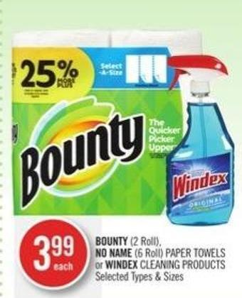 Bounty (2 Roll) - No Name (6 Roll) Paper Towels or Windex Cleaning Products