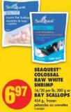 Seaquest Colossal Raw White Shrimp - 16/20 Per Lb - 300 g or Bay Scallops - 454 g