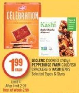Leclerc Cookies (240g) - Pepperidge Farm Goldfish Crackers or Kashi Bars