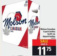 Molson Canadian - 6 Pack Bottles - 6x341 Ml