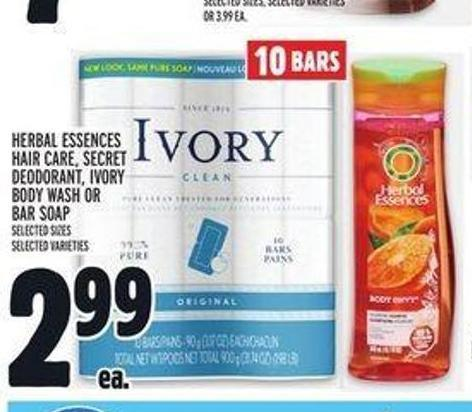 Herbal Essences Hair Care - Secret Deodorant - Ivory Body Wash Or Bar Soap