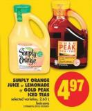Simply Orange Juice Or Lemonade Or Gold Peak Iced Teas - 2.63 L