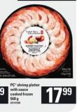 PC Shrimp Platter With Sauce Cooked - 568 g