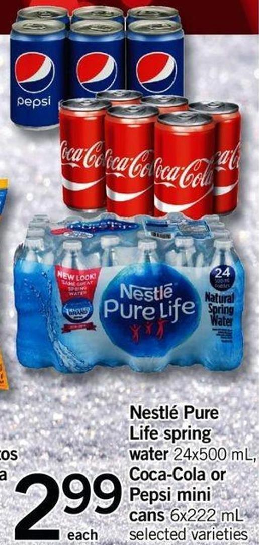 Nestlé Pure Life Spring Water - 24x500 Ml - Coca-cola Or Pepsi Mini Cans - 6x222 Ml