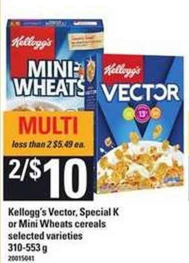 Kellogg's Vector - Special K Or Mini Wheats Cereals  - 310-553 g