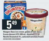 Häagen-dazs Ice Cream - Gelato Or Non-dairy Frozen Dessert 475-500 Ml - Novelties 3's Or Nestlé Drumstick 4's