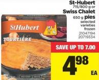 St-hubert 715/800 G Or Swiss Chalet 650 G Pies
