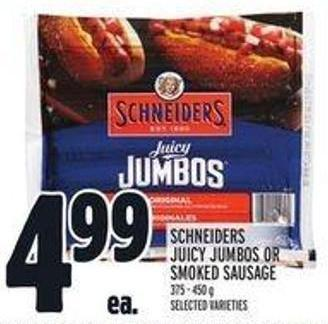 Schneiders Juicy Jumbos Or Smoked Sausage