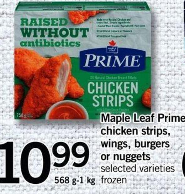 Maple Leaf Prime Chicken Strips - Wings - Burgers Or Nuggets - 568 G-1 Kg